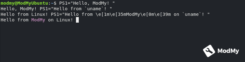 Hello from ModMy on Linux! prompt