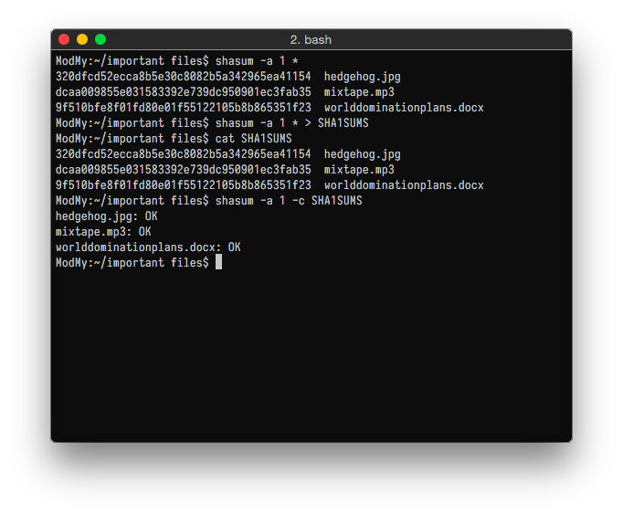Terminal with checksums